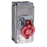 Socle prise saillie Hypra - IP44 - 63 A - 380/415 V~ - 3P+T - métal (053733)