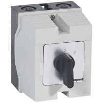 Commutateur - inverseur avec arrêt - PR 12 - 4P - 8 contacts - boîtier 96x120 mm (027728)