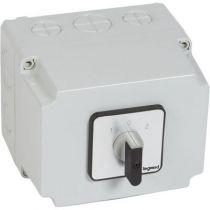 Commutateur - inverseur avec arrêt - PR 63 - 4P - 8 contacts - boîtier 135x70 mm (027753)