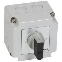 Commutateur 3 directions avec arrêt - PR 12 - 1P - 3 contacts - boîtier 76x76 mm (027767)