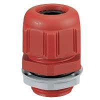 Presse-étoupe plastique- IP68- ISO 16- pour boîte Plexo incendie- rouge RAL 3000 (091930)