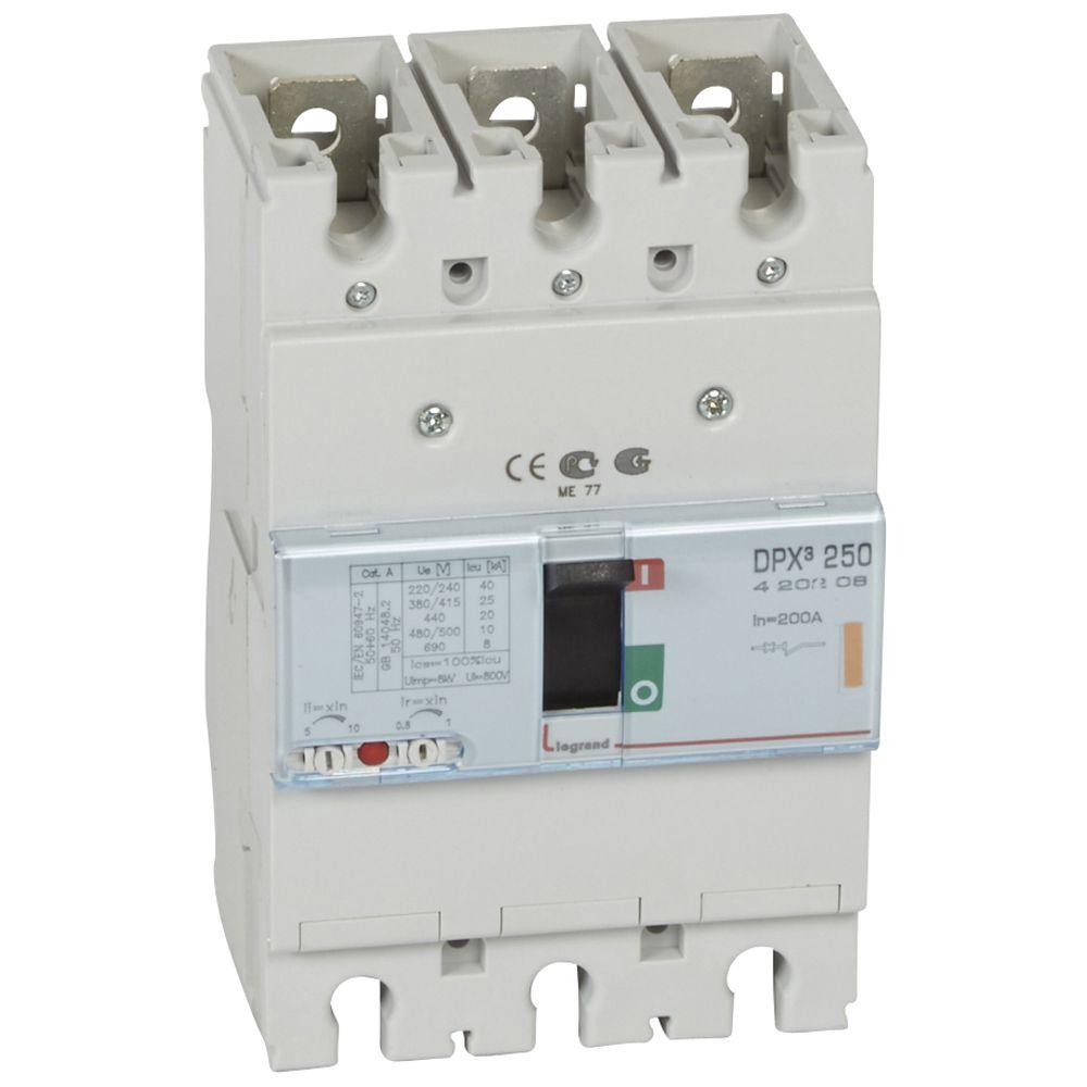 Disj puissance DPX³ 250 - magnéto-thermique - 25 kA - 3P - 200 A (420208)
