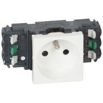 Prise Prog Mosaic pour goulottes DLP- 2P+T - bornes auto - 2 modules - blanc (077301)