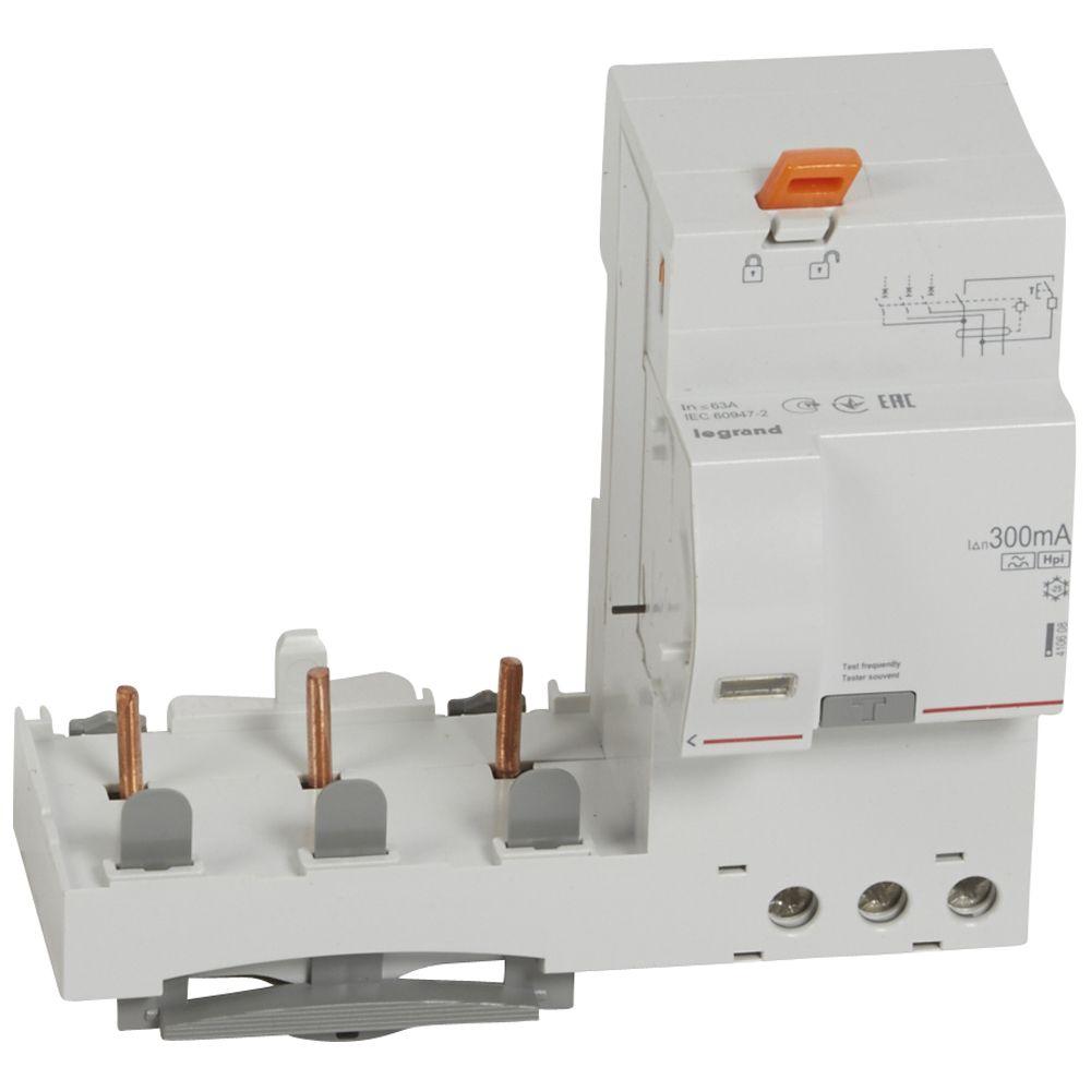 Bloc diff adapt DX³ - à vis - 3P - 400 V~ - 63 A - type Hpi - 300 mA (410608)
