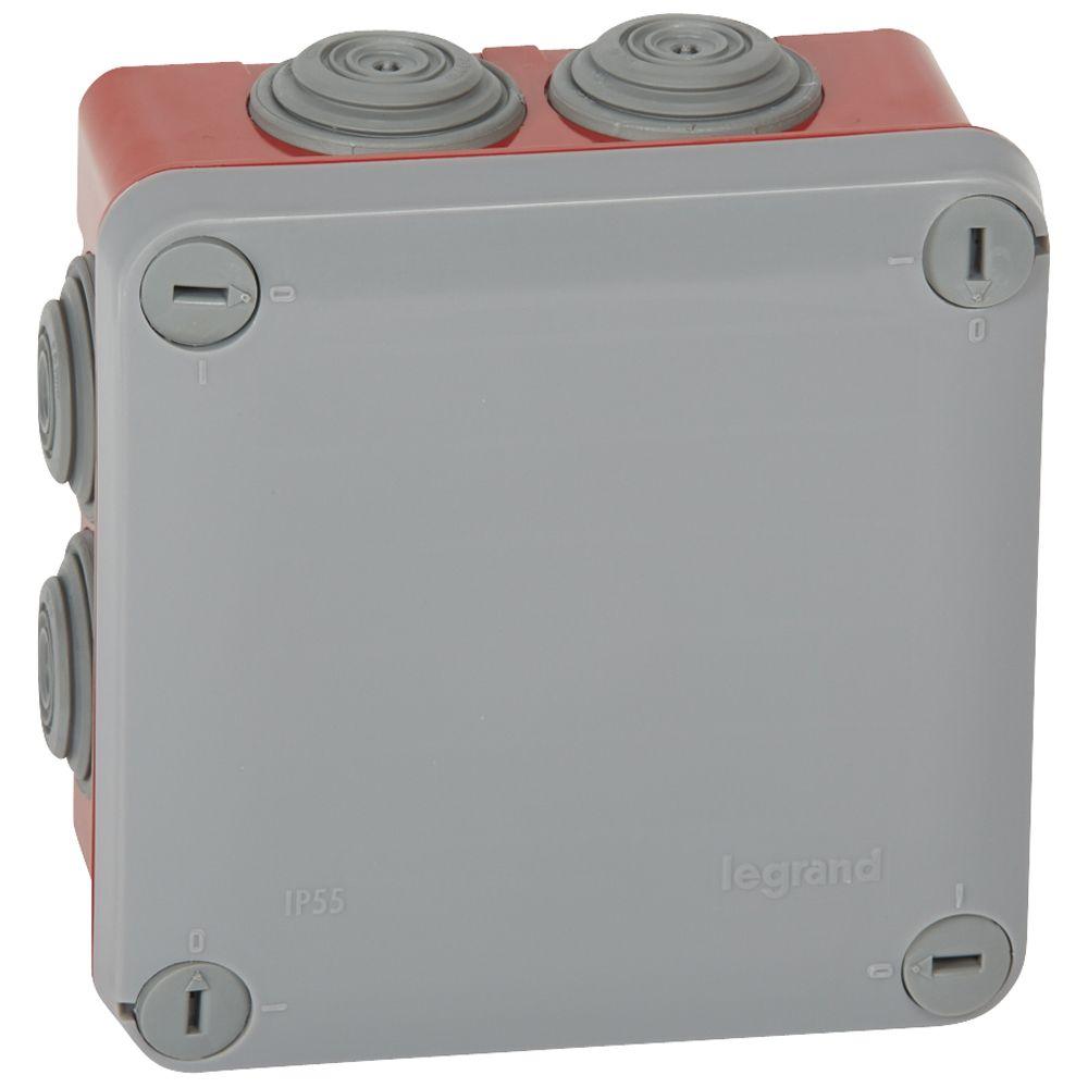 Boite carrée 105x105x55 étanche Plexo gris/rouge - embout (7) -IP55/IK07- 960°C (092025)