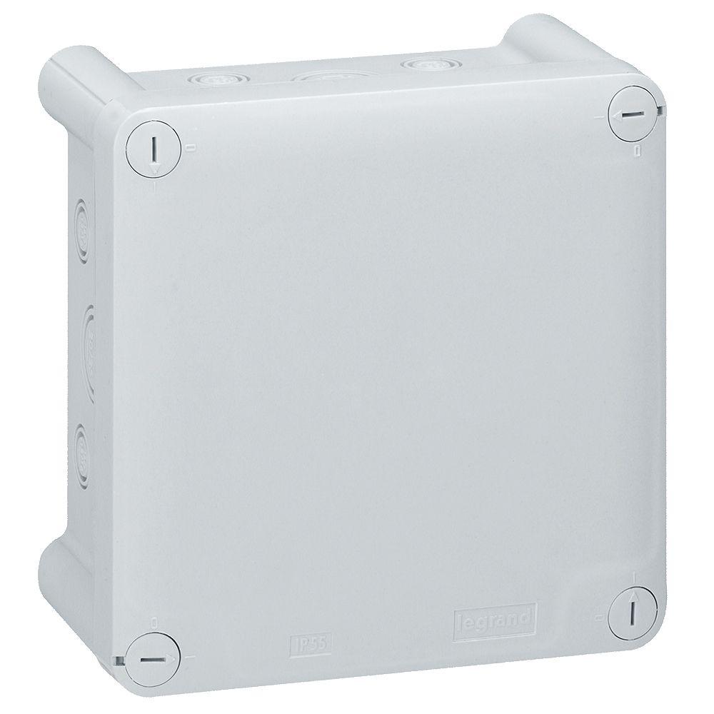 Boite carrée 130x130x74 étanche Plexo gris- entrée défonç (20) -IP55/IK07-750°C (092034)