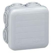 Boite carrée 65x65x40 étanche Plexo gris - embout (7) -IP55/IK07- 650°C (092005)