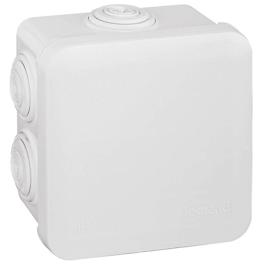 Boite carrée 80x80x45 étanche Plexo blanc - embout (7) -IP55/IK07- 650°C (092013)