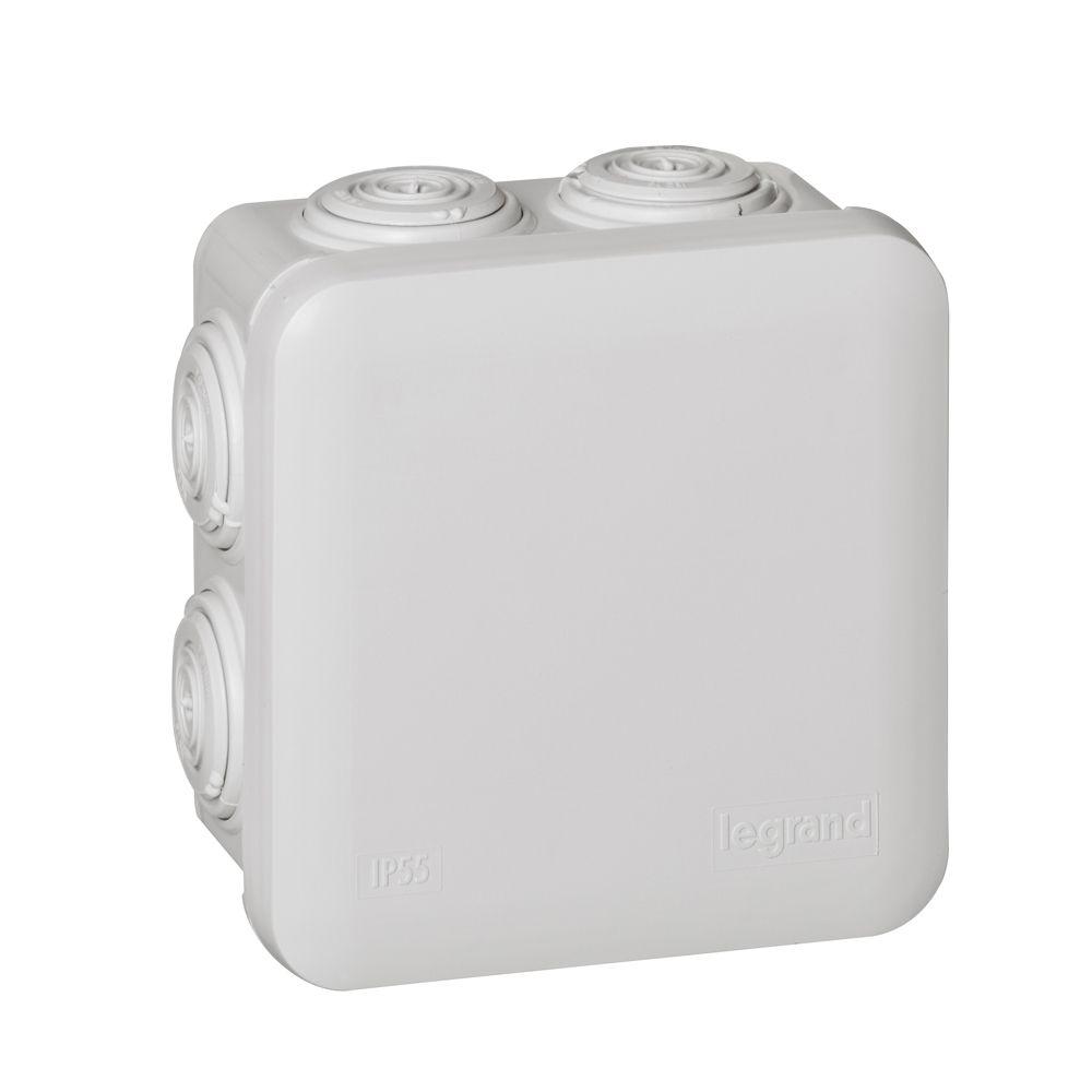 Boite carrée 80x80x45 étanche Plexo gris - embout (7) -IP55/IK07- 650°C (092012)