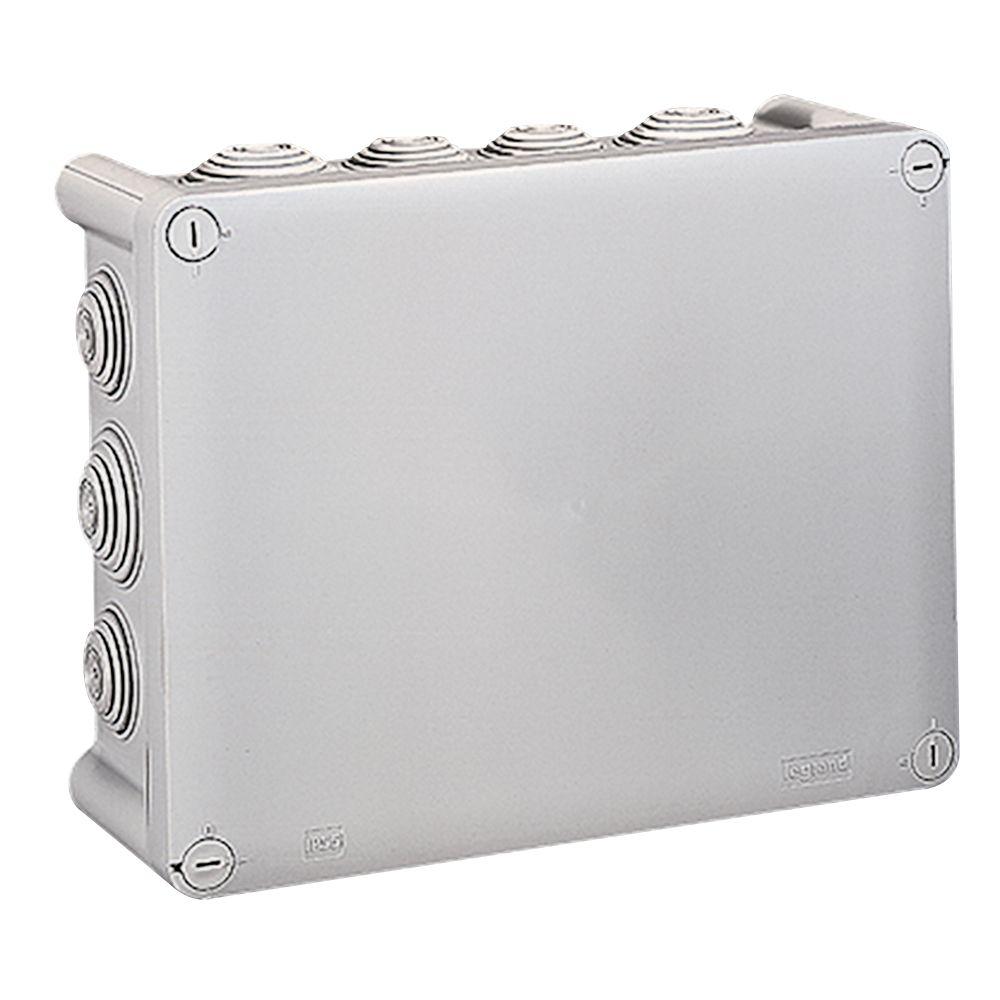Boite rect 220x170x86 étanche Plexo gris - embout (14) -IP55/IK07- 750°C (092062)