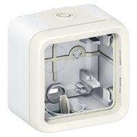Boîtier à embouts Prog Plexo composable - 1 poste - blanc
