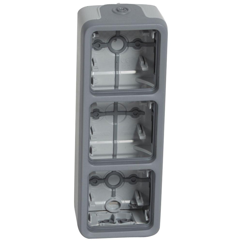 Boîtier à embouts Prog Plexo composable gris - 3 postes verticaux