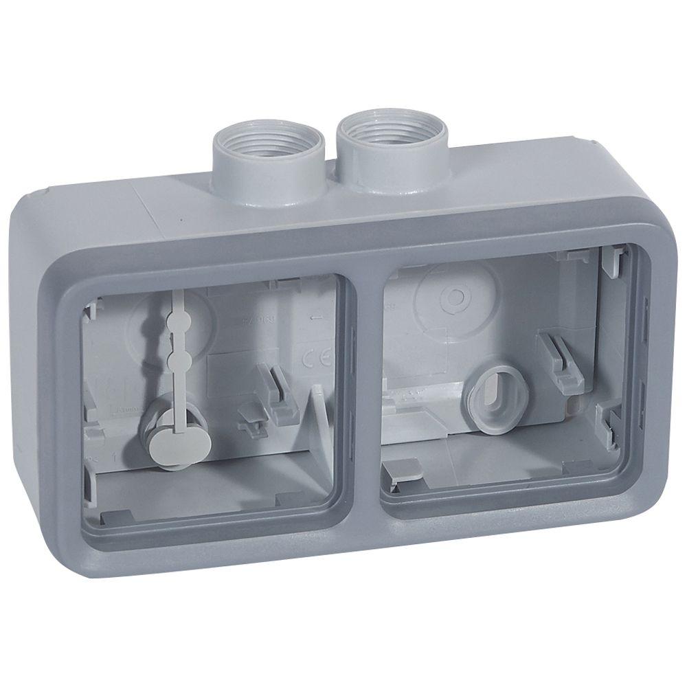 Boîtier presse-étoupe Prog Plexo composable gris - 2 postes horizontaux - PG 16