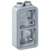 Boîtier presse-étoupe Prog Plexo composable gris - 2 postes verticaux - PG 16