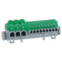 Bornier de répartition IP 2X - connexion auto - 3 bornes à cage - L 98 mm (005051)