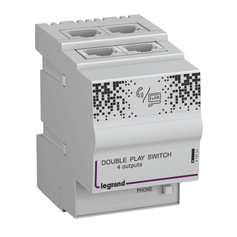Centrale Double Play - 4 sorties RJ 45 - 2,5 modules