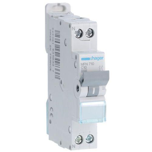 Disjoncteur 1P+N 3kA C-10A 1 Module (MFN710)