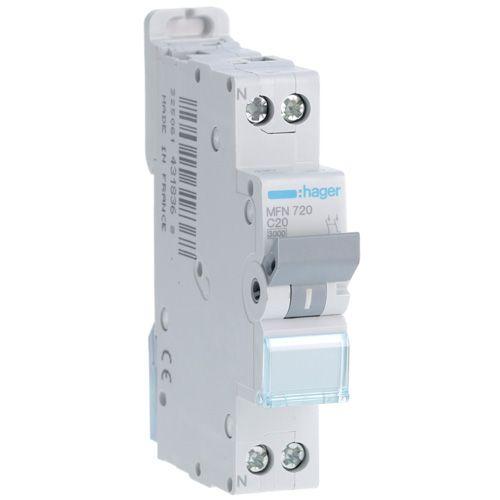 Disjoncteur 1P+N 3kA C-20A 1 Module (MFN720)