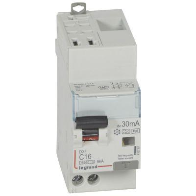 Disjoncteur diff DX³ 4500 -auto/vis- U+N 230V~ 16A- typeHpi- 30mA- 6kA -courbe C - 2M (410761)