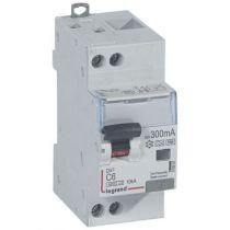 Disjoncteur diff DX³ 6000 -vis/vis- U+N 230V~- 6A - type Hpi 300 mA-10 kA courbe C - 2M (410881)