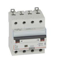 Disjoncteur diff DX³ 6000-vis/vis - 4P 400V~ -16A -type AC 30mA - 10 kA courbe C -4 mod (411186)