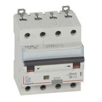 Disjoncteur diff DX³ 6000-vis/vis - 4P 400V~ -25A -type AC 30mA - 10 kA courbe C -4 mod (411188)