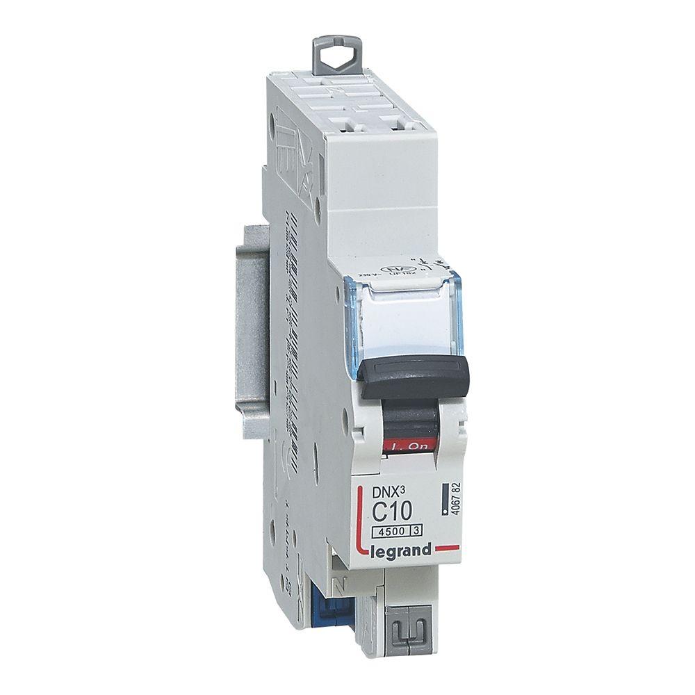 Disjoncteur DNX³ 4500 - auto/auto - U+N 230V~ 10A - 4,5kA - courbe C - 1 mod (406782)