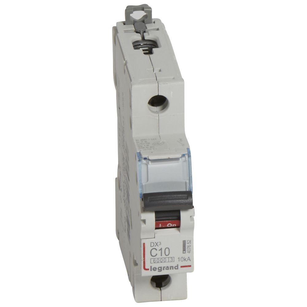 Disjoncteur DX³ 6000 - vis/vis - U+N - 230V~ - 10 A - 10 kA - courbe C - 1M (407698)