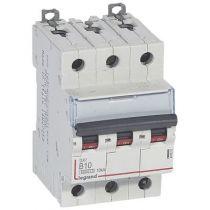 Disjoncteur DX³ 6000 -vis/vis- 3P- 400V~ - 10A-10kA - courbe B-peigne HX³ trad 3P- 3M (407531)