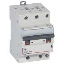 Disjoncteur DX³ 6000 -vis/vis- 3P- 400V~-25A-10kA-courbeC-peigne HX³ opti 4P - 3M (407840)