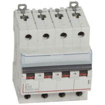 Disjoncteur DX³ 6000 -vis/vis- 4P- 400V~ - 10A-10kA - courbe B-peigne HX³ trad 3P- 4M (407594)