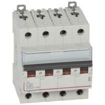 Disjoncteur DX³ 6000 -vis/vis- 4P- 400V~-20A-10kA-courbeC-peigne HX³ trad 4P - 4M (407899)