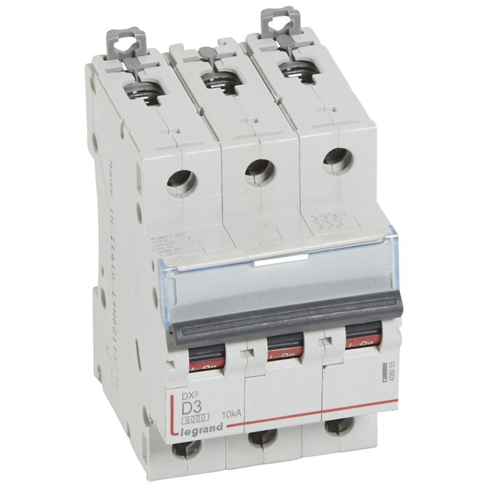 Disjoncteur DX³ 6000-vis/vis-3P-400V~-3A-10kA-courbe D-peigne HX³ trad 3P-3M (408055)