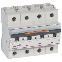 Disjoncteur DX³ MA-vis/vis-4P-400V~-25A-25kA-magnétique seul - 6M (409893)