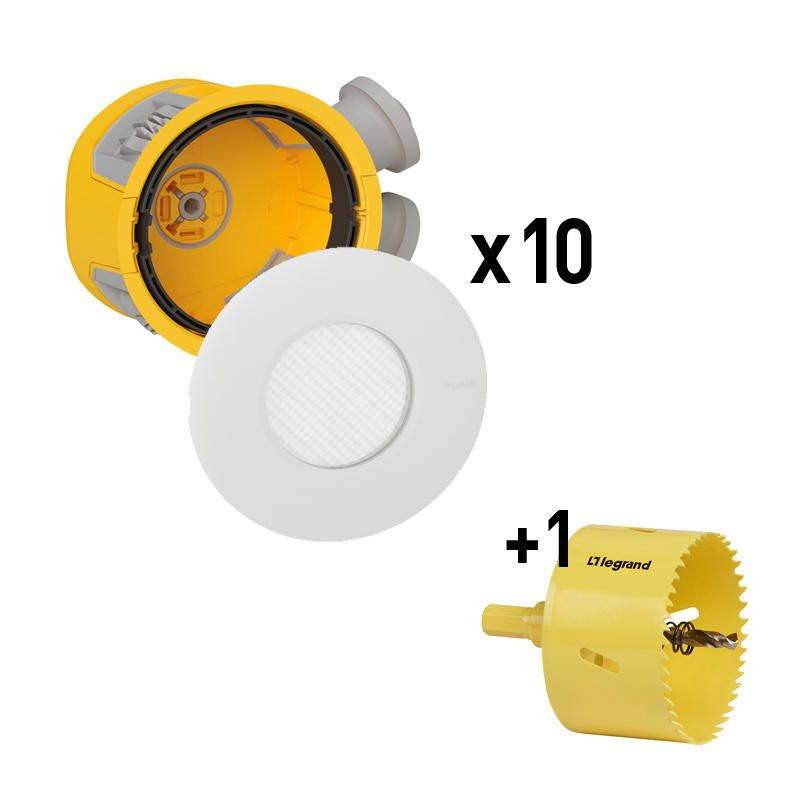 Distributeur Modul\'up avec 10 ensembles boite Modul\'up + spot IP44 blanc + 1 scie cloche (088534)