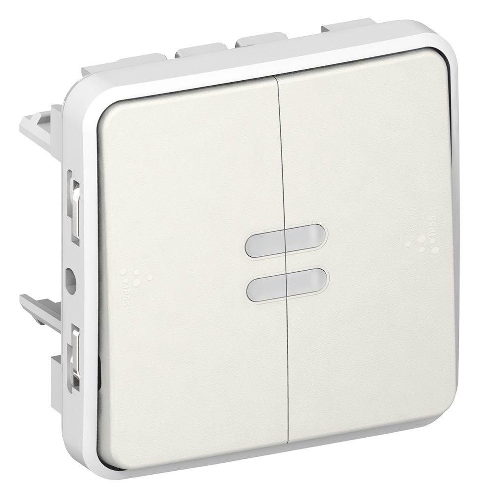 Double poussoir lumineux NO+NF Prog Plexo composable blanc - 10 A