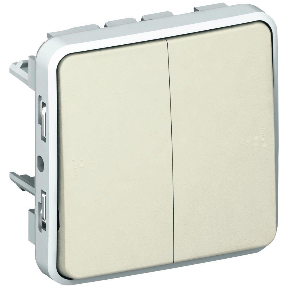 Double poussoir NO+NF Prog Plexo composable blanc - 10 A