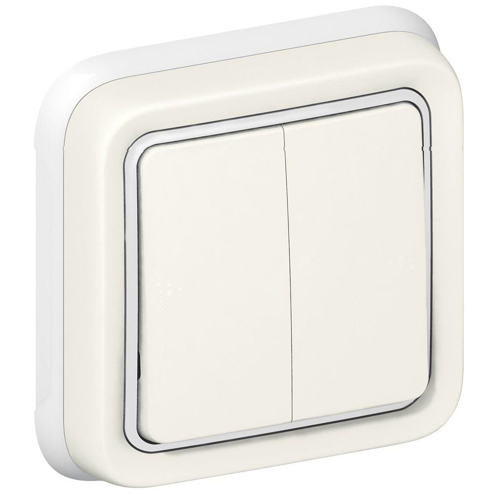 Double va-et-vient Prog Plexo complet encastré blanc - 10 AX