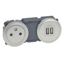 Enjoliveur Céliane - prise double pour chargeur USB - titane