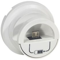 Enjoliveur Céliane - prise double pour chargeur USB version dock - blanc