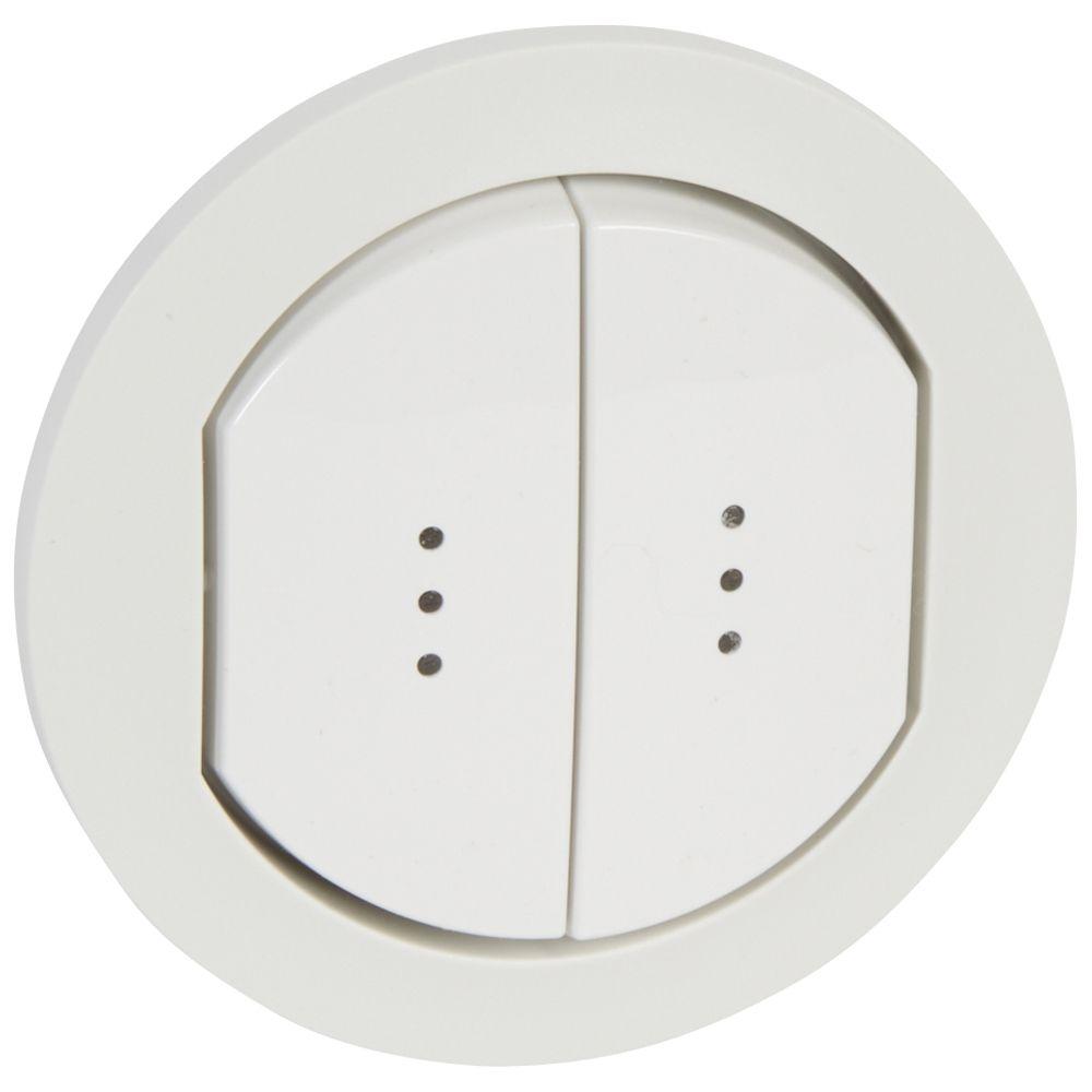 Enjoliveur double à voyant Céliane - IP 44 - pour 2 réf. 0 670 01/31 - blanc