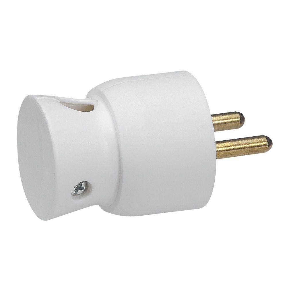 Fiche 2P+T - 16 A - plastique - sortie latérale - blanc (050416)