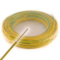 Fil électrique rigide HO7VU 2.5² vert/jaune - Couronne de 100m