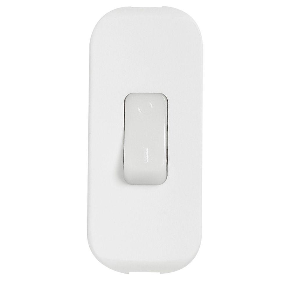 Inter à bascule touche luminescente - 2 A - fil souple - blanc (040187)