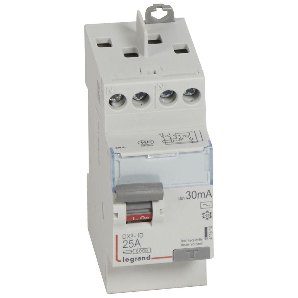 Inter diff DX³-ID - vis/vis - 2P- 230V~-25 A - type AC - 30mA - départ haut - 2M (411610)