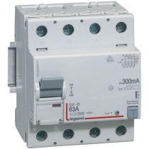 Inter diff DX³-ID - vis/vis - 4P- 400V~- 63A - type B - 300mA - départ bas - 4M (411849)