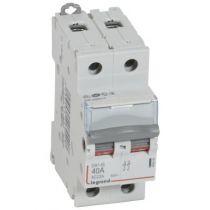 Inter-sectionneur de tête DX³-IS - vis/vis - 2P - 400 V~ - 40 A - 2 M (406440)