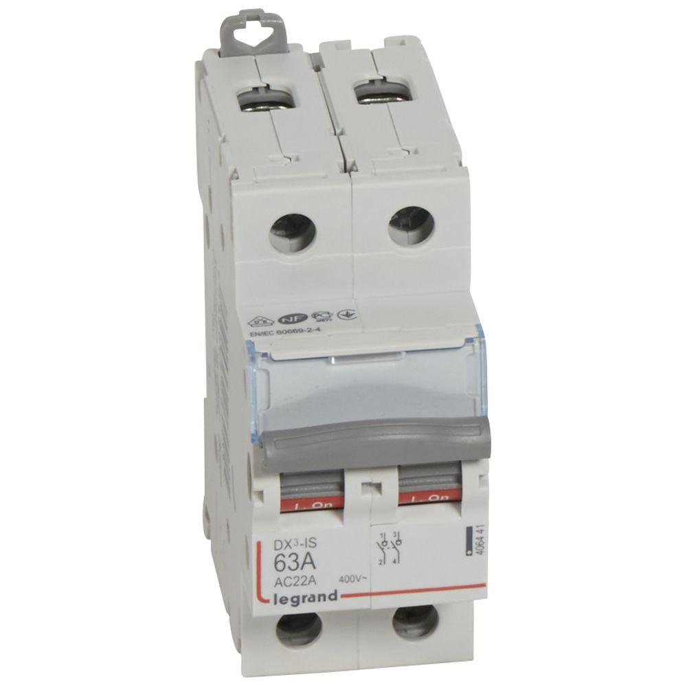 Inter-sectionneur de tête DX³-IS - vis/vis - 2P - 400 V~ - 63 A - 2 M (406441)