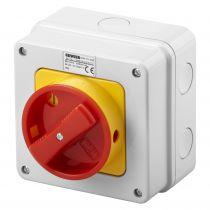 interrupteur rotatif - boitier en matériauisolan - en saillie - secours - poignée rouge - 4P 32A - IP65 (70436)