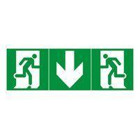 Kit de 3 étiquettes d\'évacuation adhésives BAES - flèche vers le bas (061200)